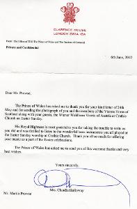 Dankschreiben von Prince Charles, Juni 2012